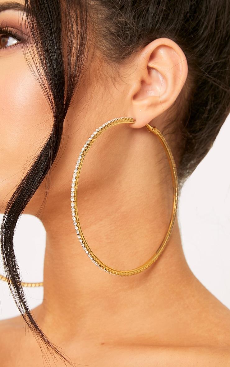 Gold Oversized Diamante Hoop Earrings 3