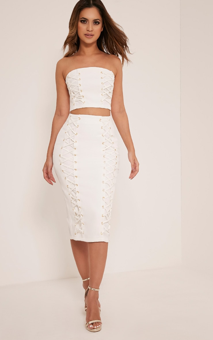Haley White Lace Up Midi Skirt 1