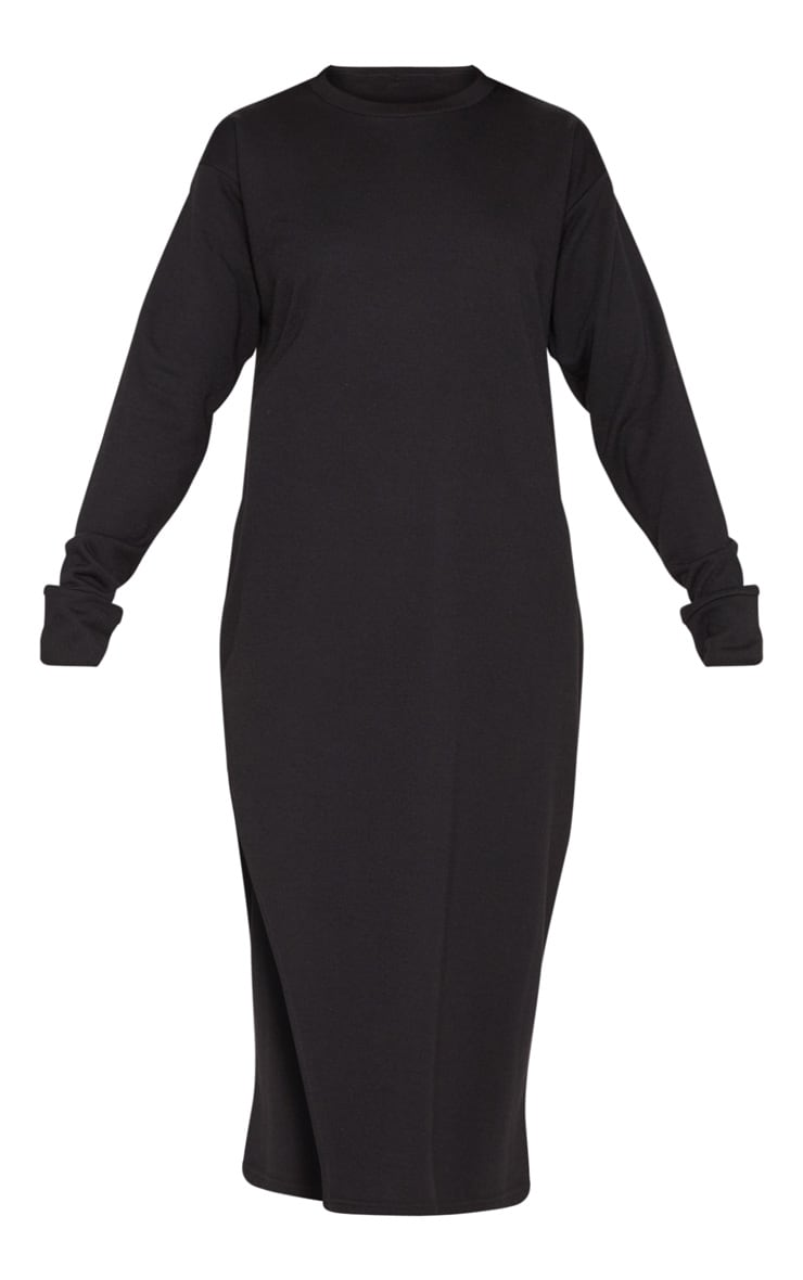 Black Oversized Side Split Midi Jumper Dress 3