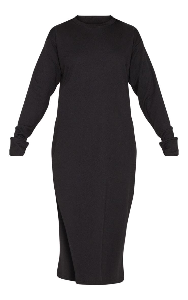 Robe pull mi-longue oversize noire fendue 3