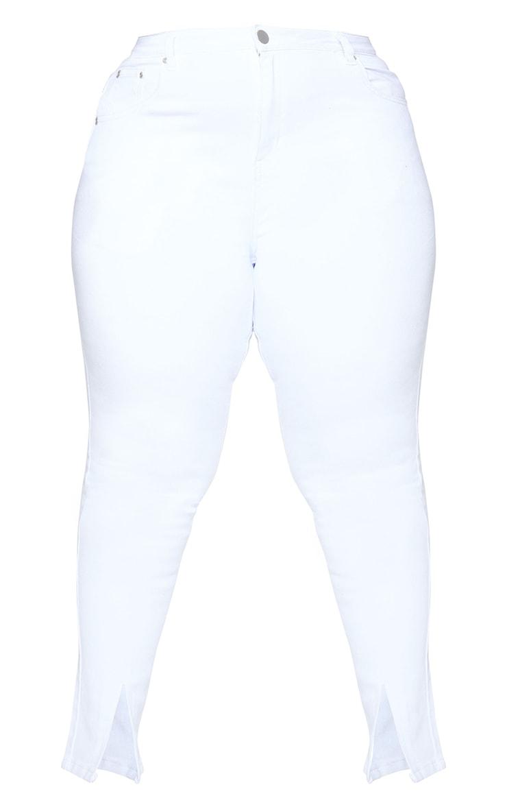 Plus White Split Front Hem Skinny Jeans 5