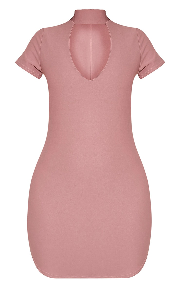 Roria Mauve Neck Detail Capped Sleeve Crepe Bodycon Dress 3