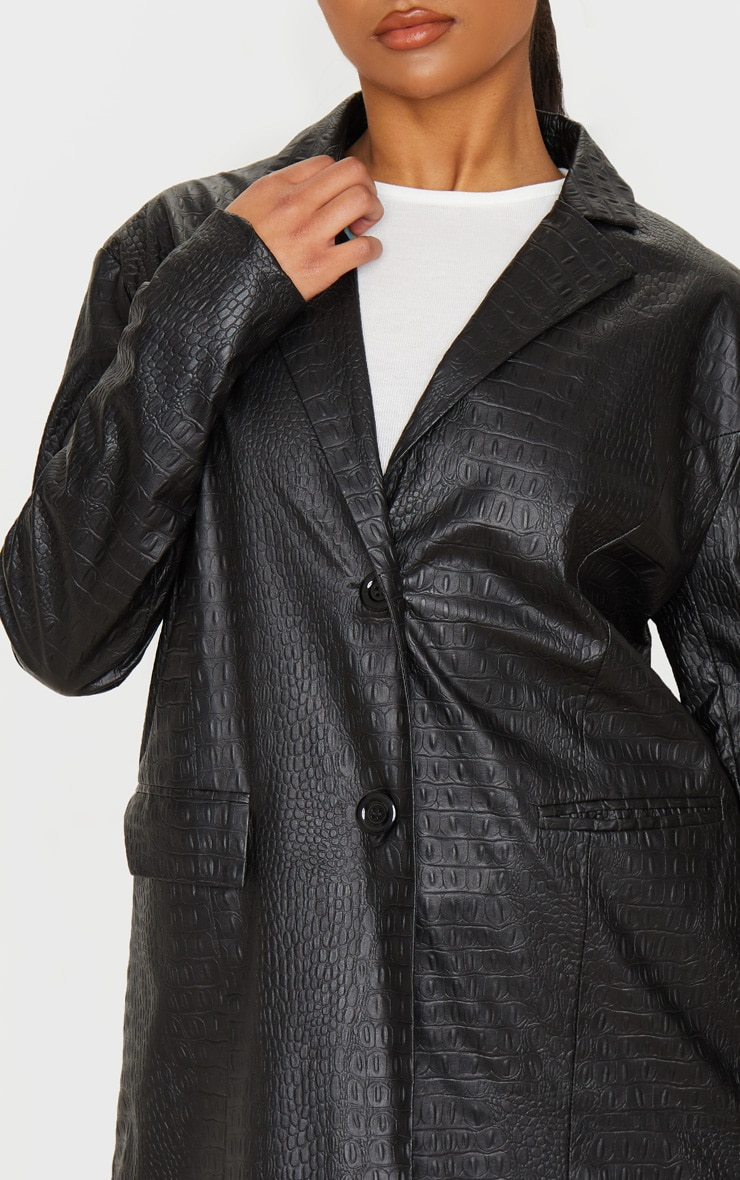 Black Faux Leather Croc Oversized Dad Blazer 5