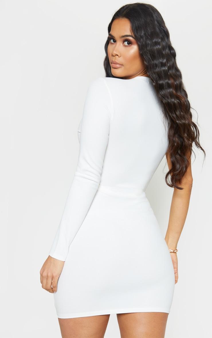 White Asymmetric Knot Detail Cut Out Bodycon Dress 2