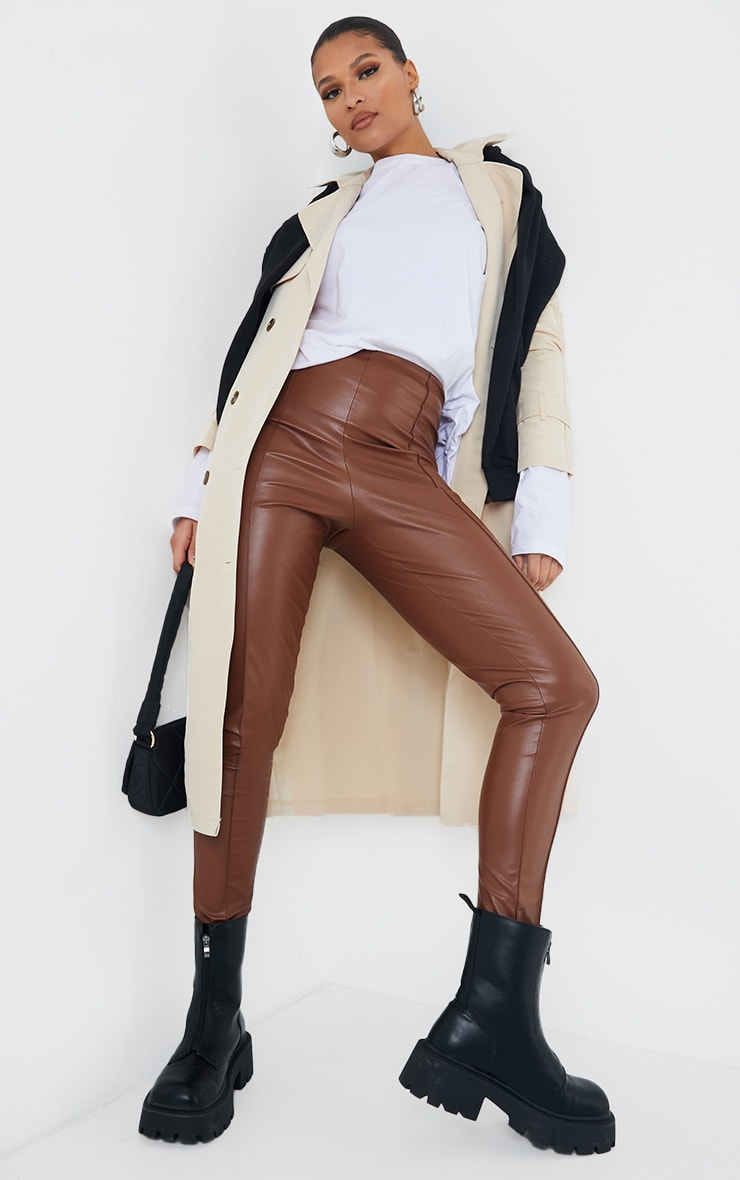Camel Faux Leather Pintuck Detail Leggings 1