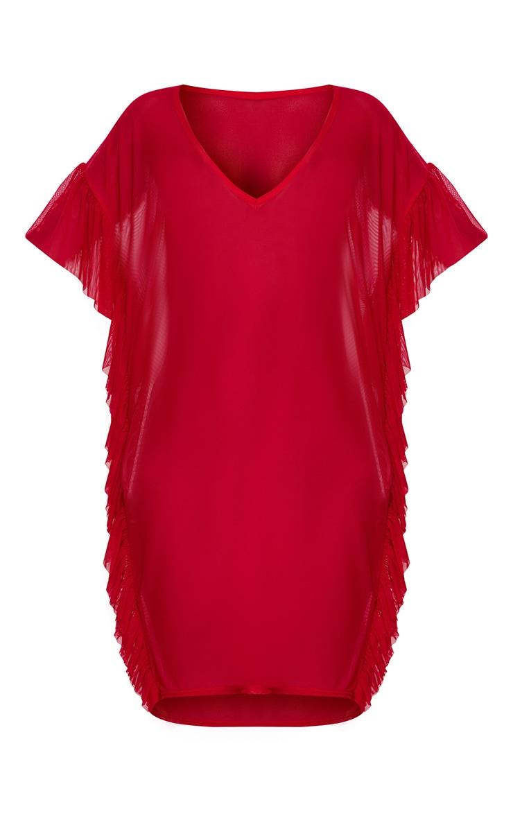 Red Mesh Frill Deep Plunge Beach Cover Dress 3