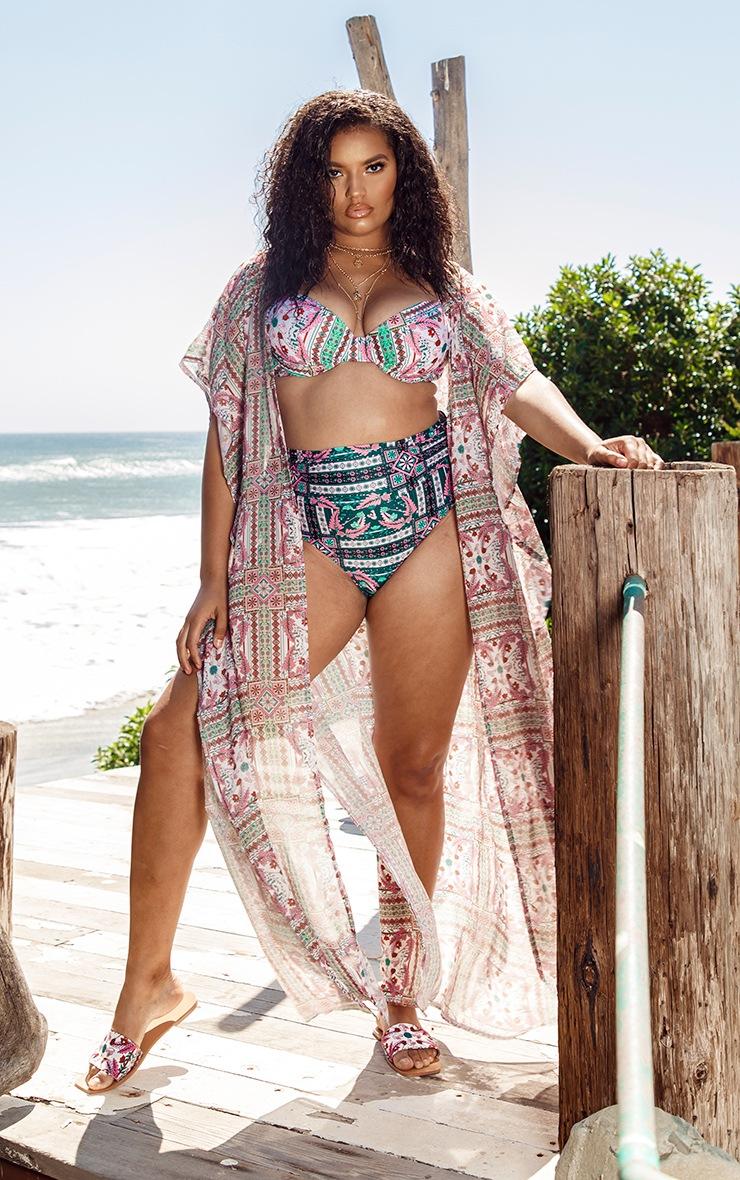 Plus Multi Mosaic Sleeveless Maxi Beach Kimono 4