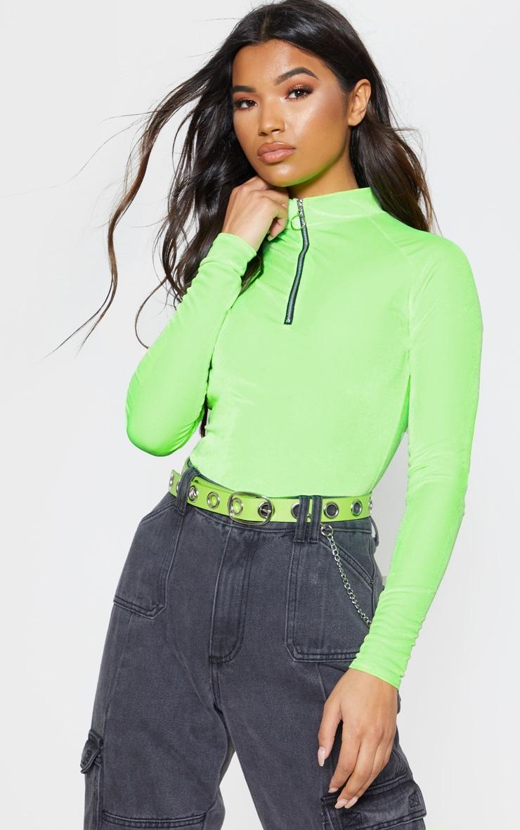 Neon Lime Velvet Zip High Neck Long Sleeve Bodysuit 1