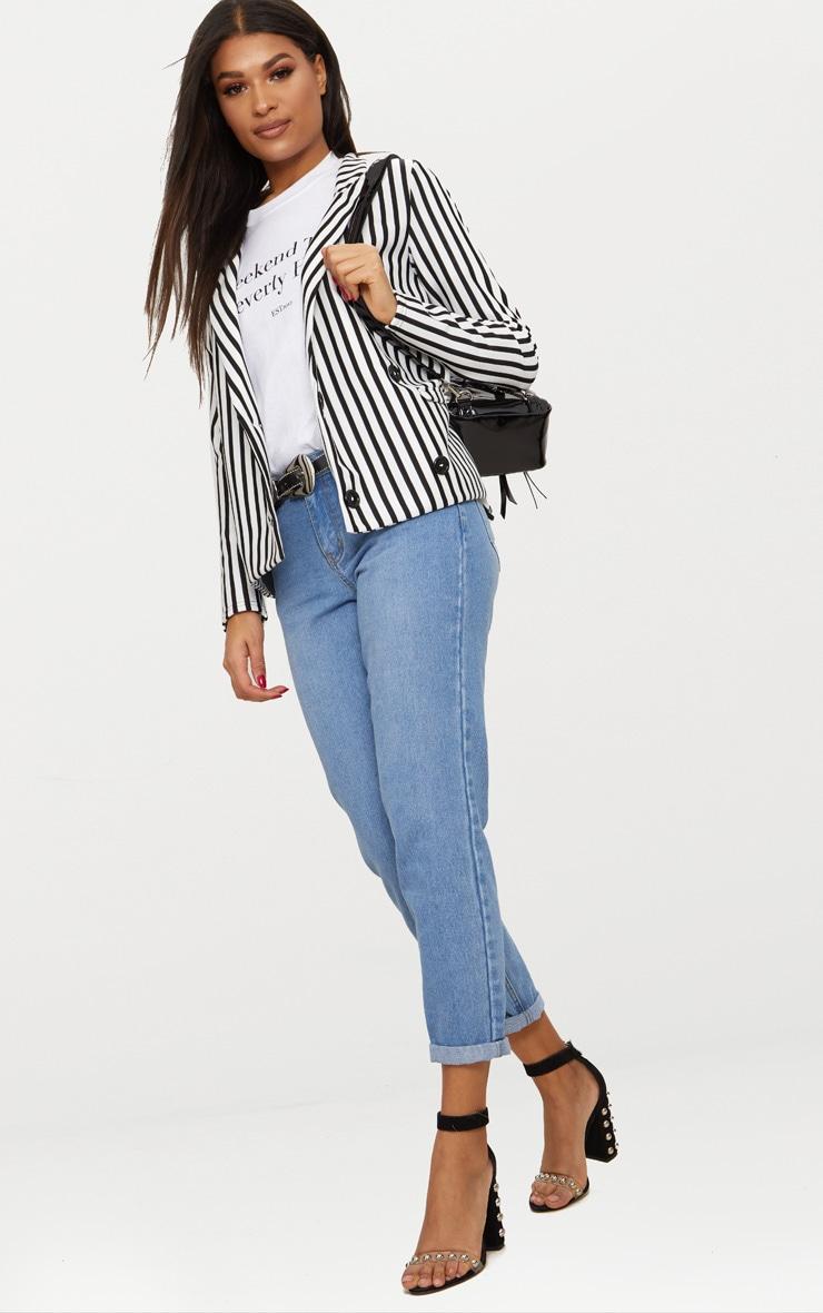 Black Monochrome Stripe Double Breasted Blazer 4
