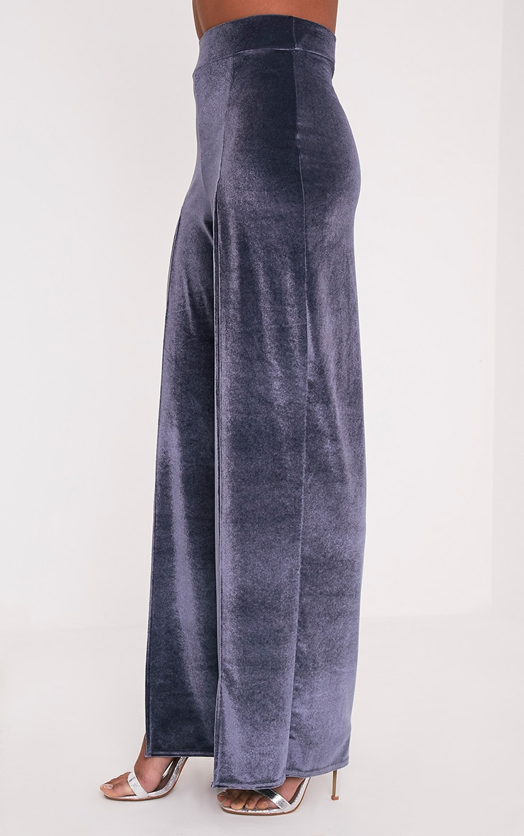 Kiley Grey Split Front Velvet Wide Leg Trousers 4