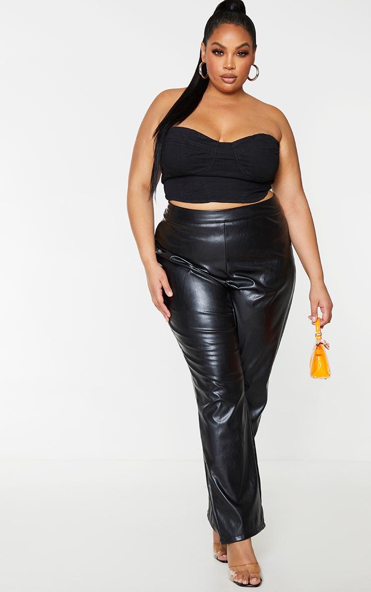 PLT Plus - Crop top en jean noir à détail bonnets 3