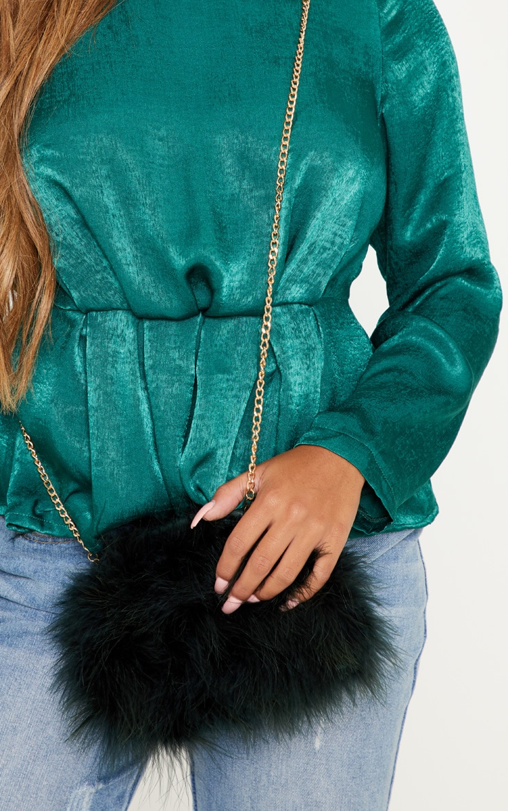 Dark Green Marabou Feather Clutch Bag