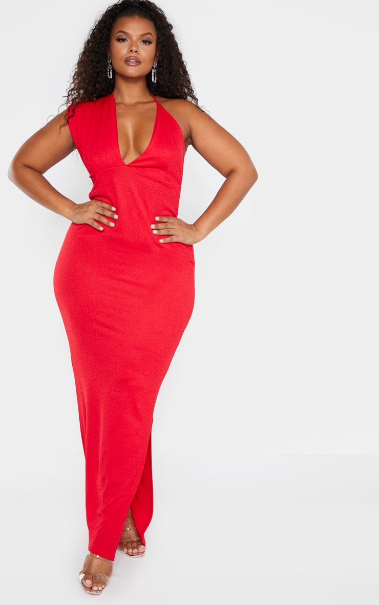 Plus Red Drape Front Maxi Dress