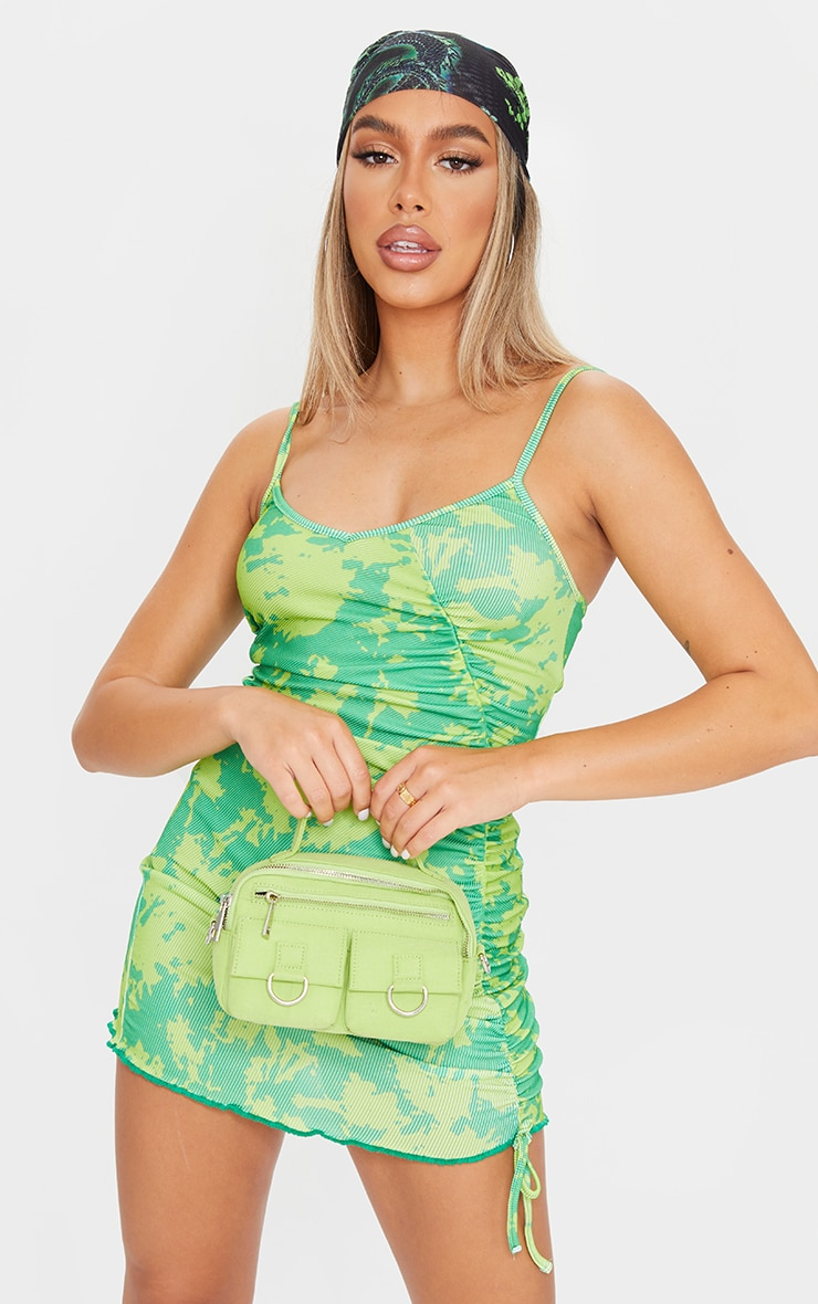 Green Tie Dye Camo Ruched Strappy Bodycon Dress 1