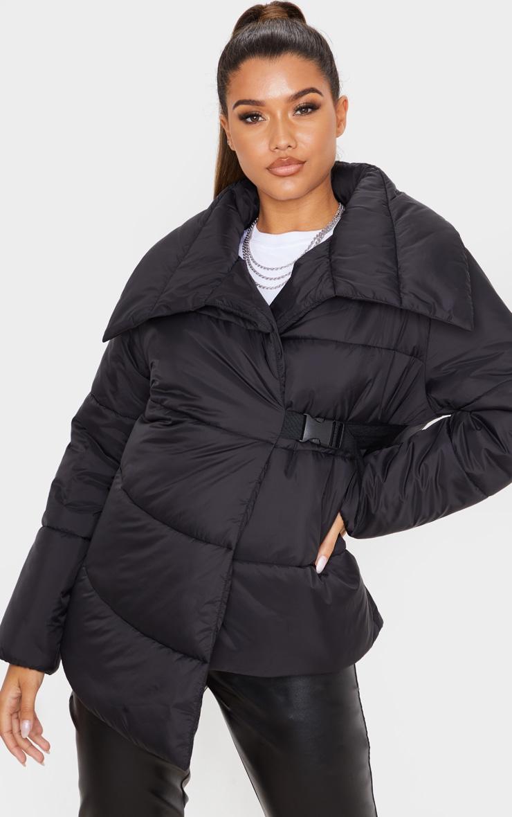 Black Side Buckle Puffer Jacket 4