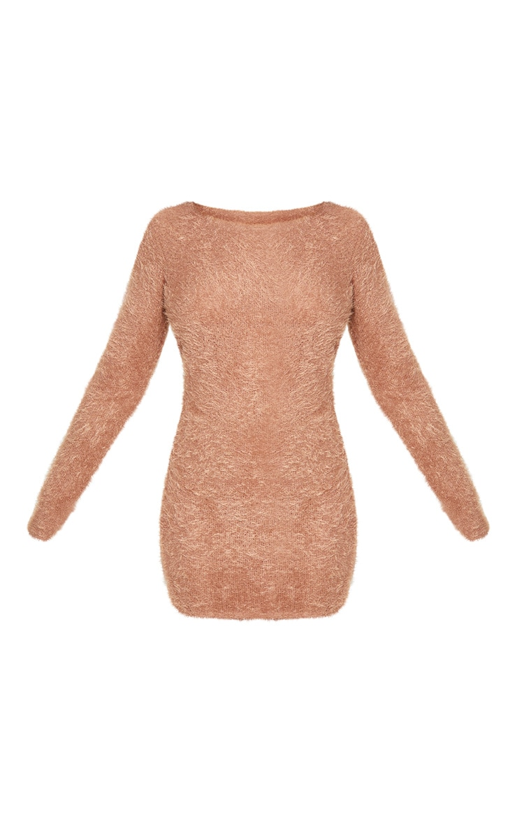Tall Brown Fluffy Knit Jumper Dress 3
