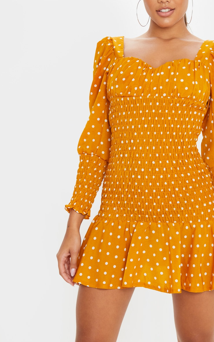 Mustard Polka Dot Shirred Long Sleeve Bodycon Dress 5