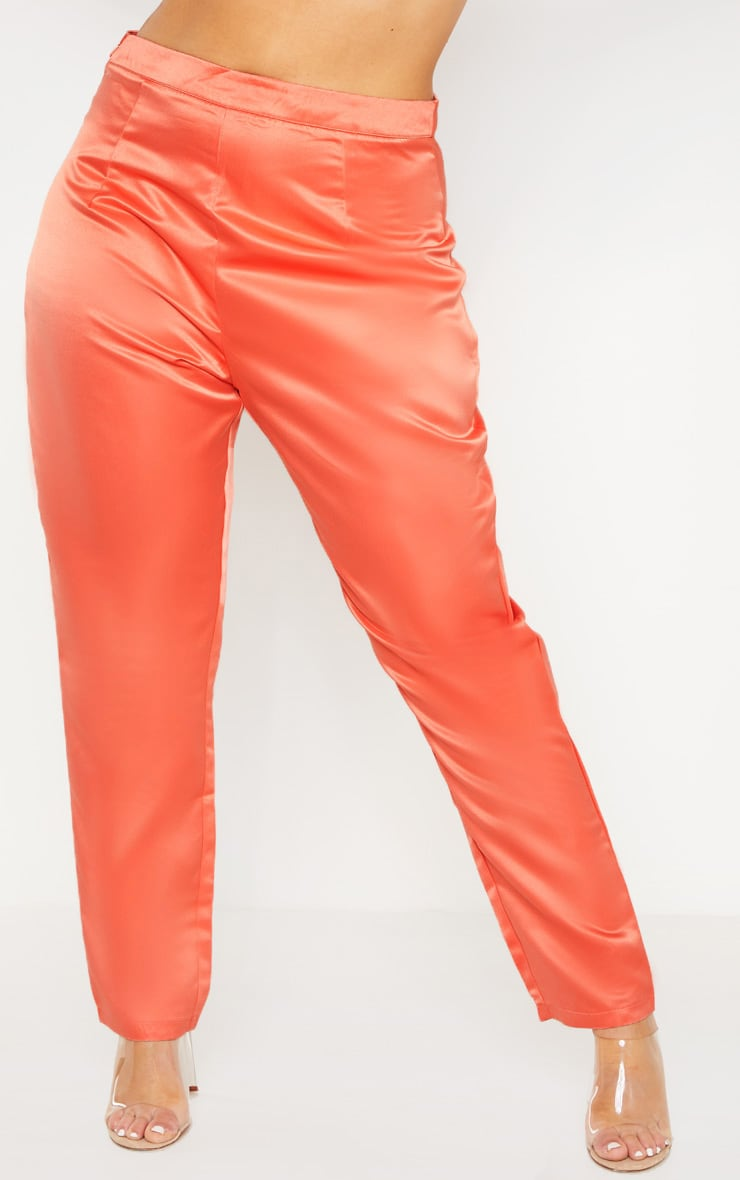 Plus Peach Tailored Satin Straight Leg Trouser  2