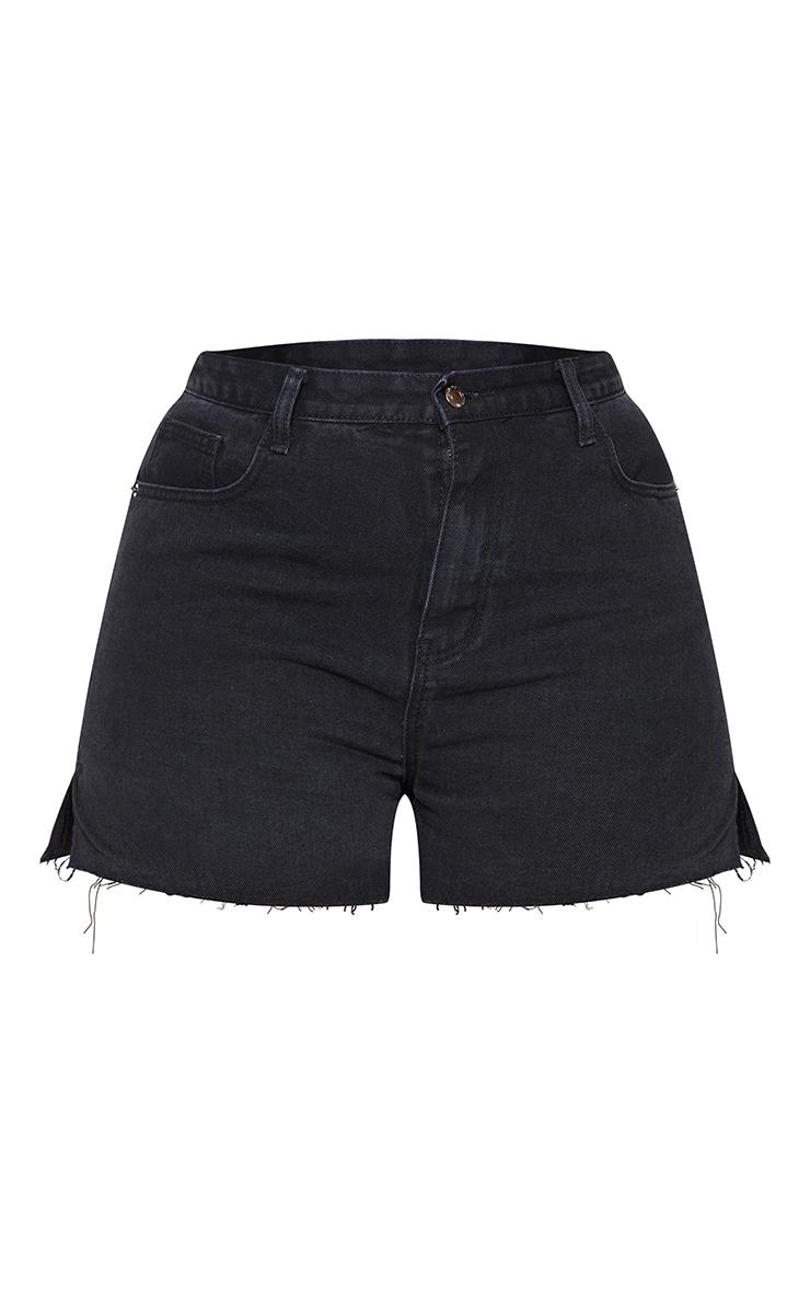 Plus Washed Black Split Hem Mom Shorts 6