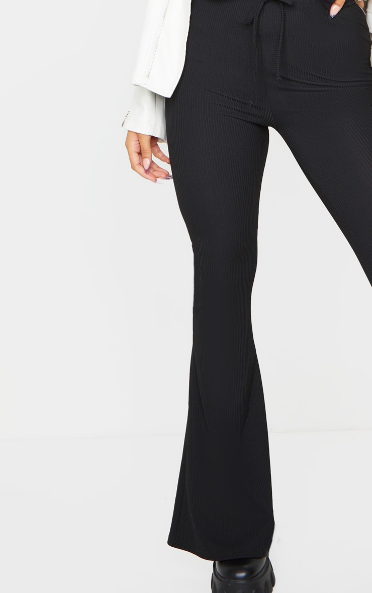 Black Ribbed Tie Detail Flare Leg Pants 4