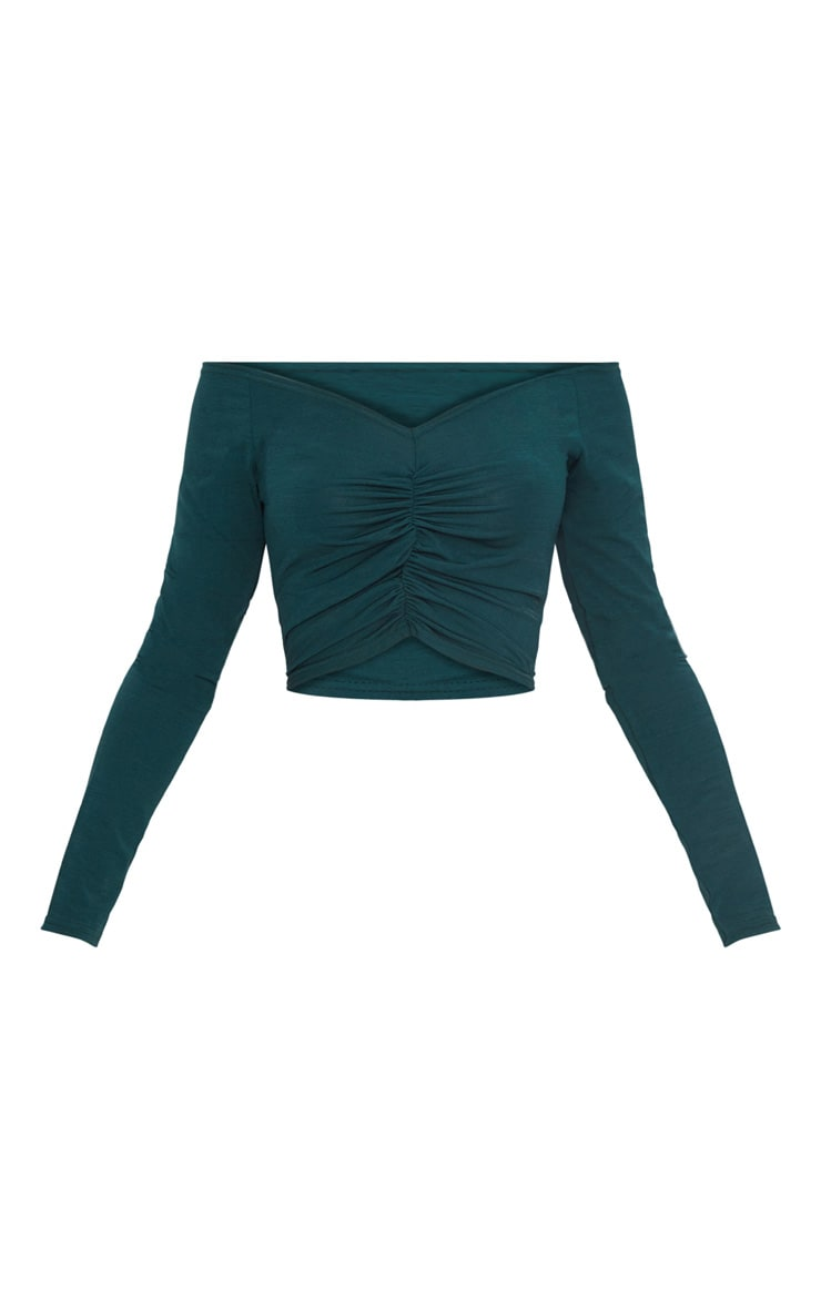 Emerald Green Slinky Ruched Front Long Sleeve Crop Top  3