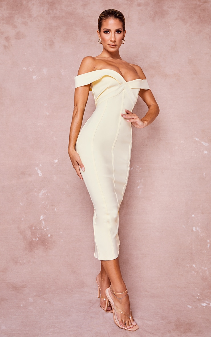 Cream Bandage Bardot Binded Midi Dress 3