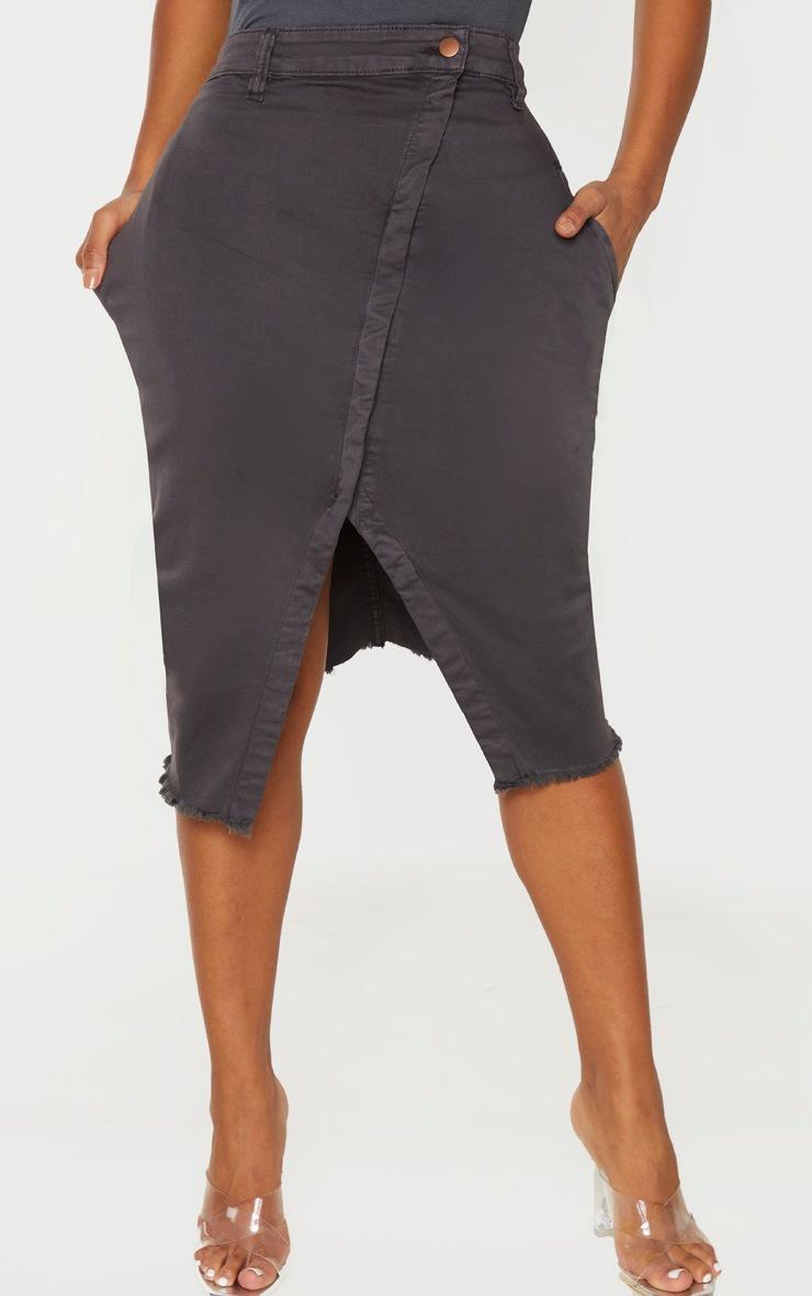 Shape Charcoal Wrap Denim Midi Skirt 2