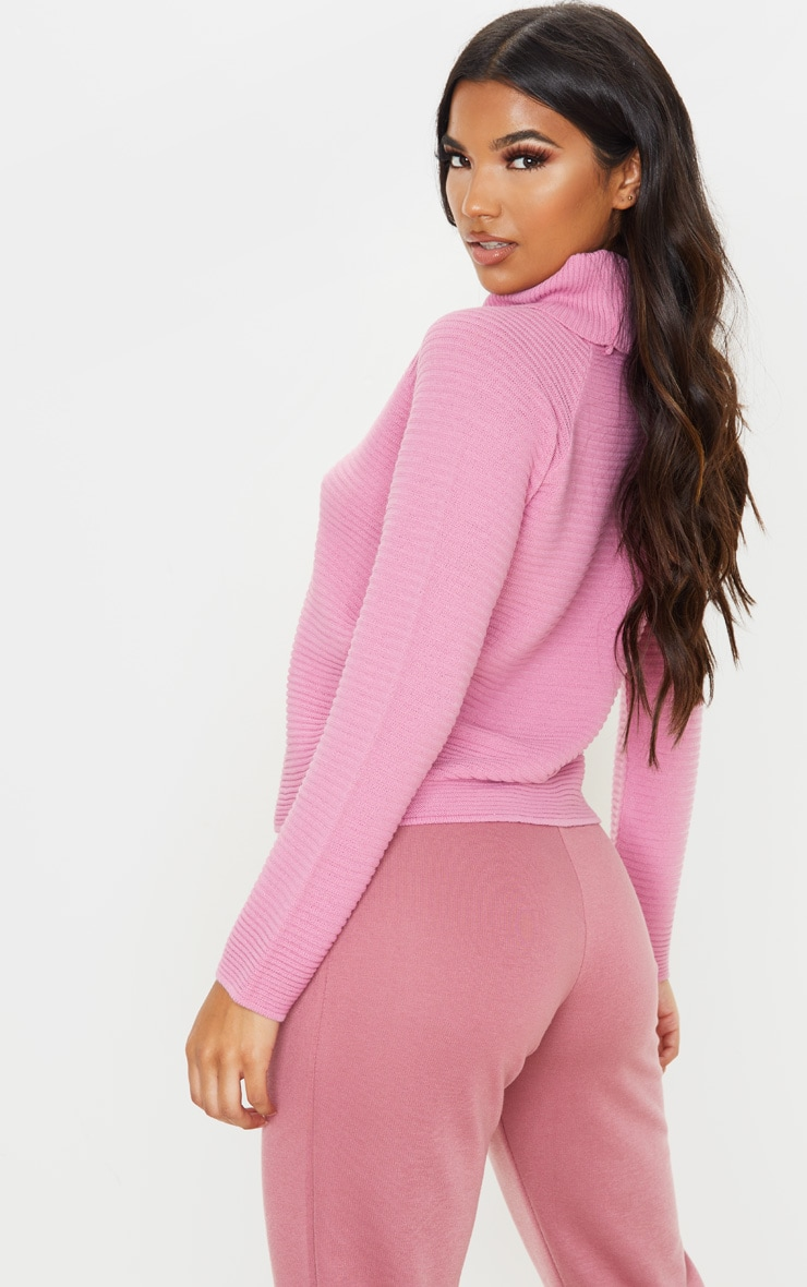 Pink Ribbed Oversized Knit Jumper 2