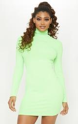 8efd9268e5556 Tall Neon Lime Rib High Neck Bodycon Dress | PrettyLittleThing