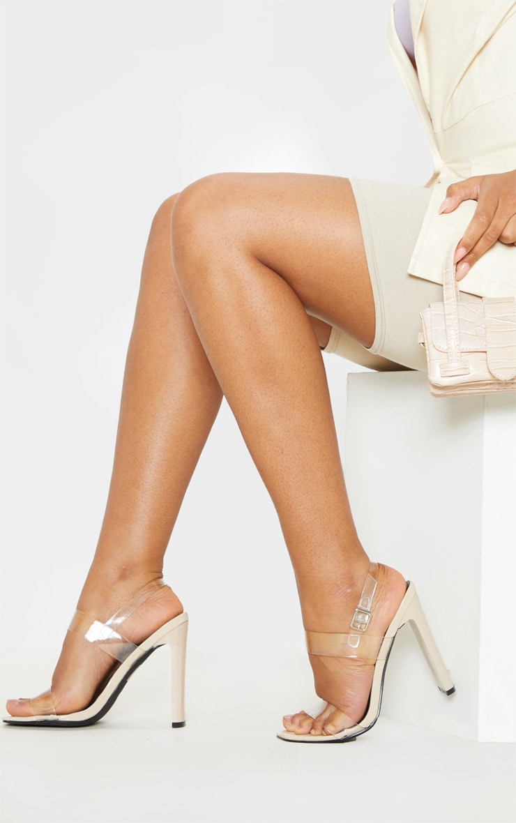 Nude Square Toe Clear Twin Strap Sandal 1