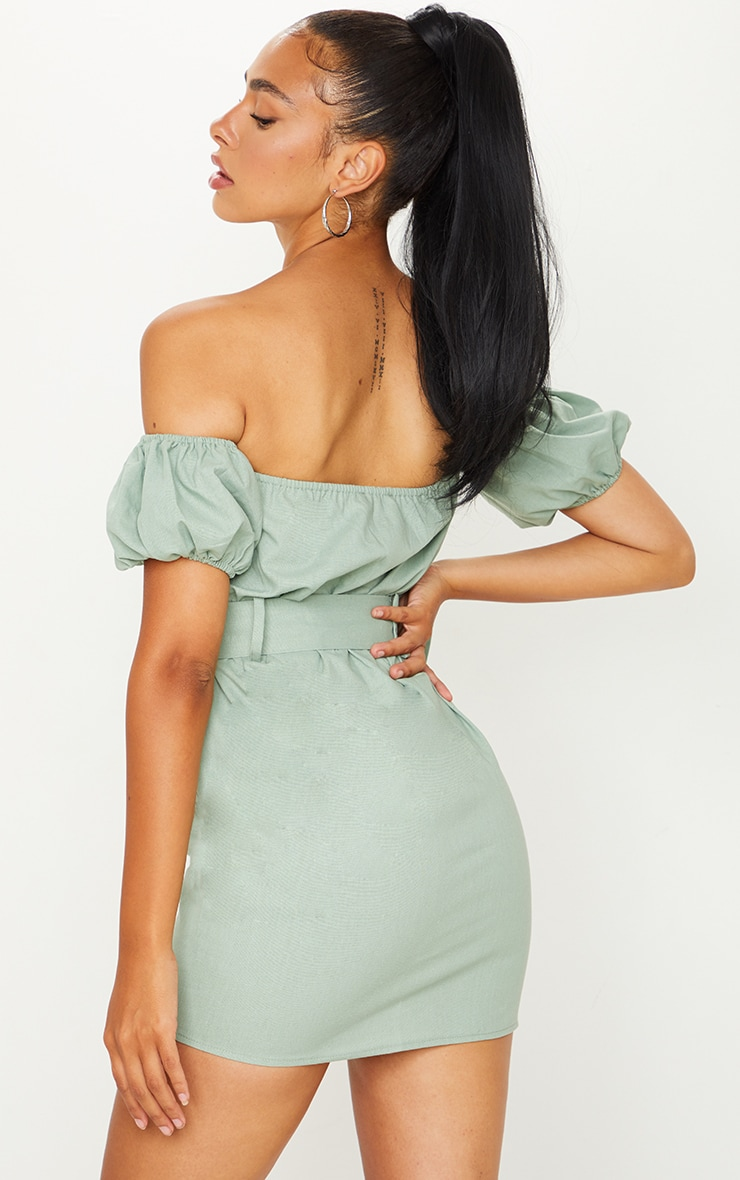 Sage Green Belt Detail Bardot Shift Dress 2