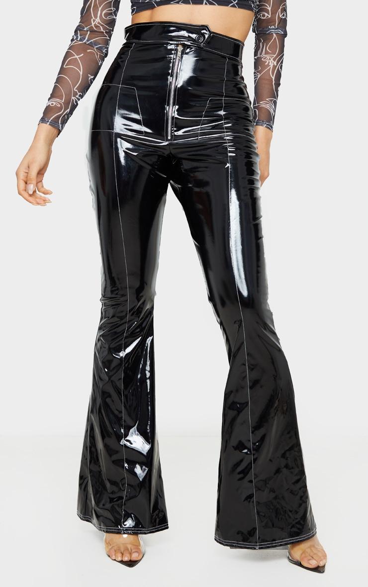 Tall Black Contrast Stitch Vinyl Flared Pants 2