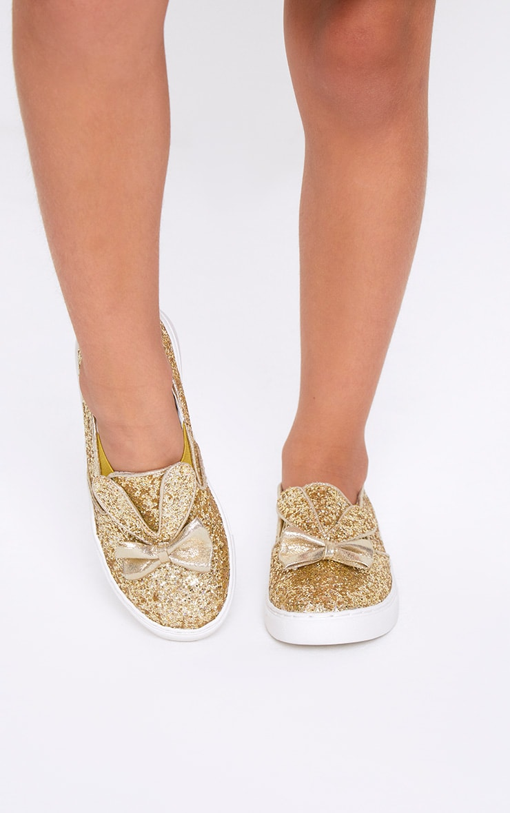 Gold Glitter Bunny Ear Trainers 2