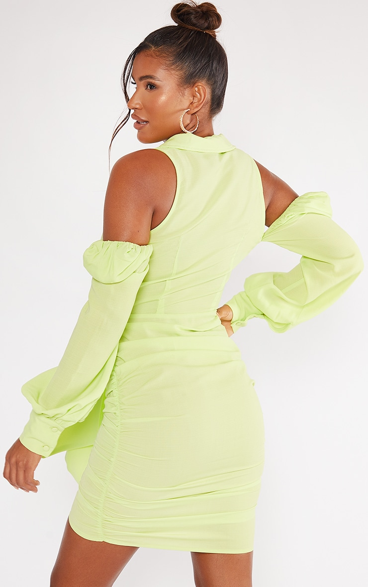 Lime Woven Cut Out Shoulder Detail Plunge Tie Front Bodycon Dress 2