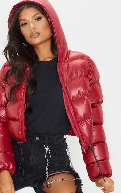 Burgundy Crop Toggle Detail Puffer