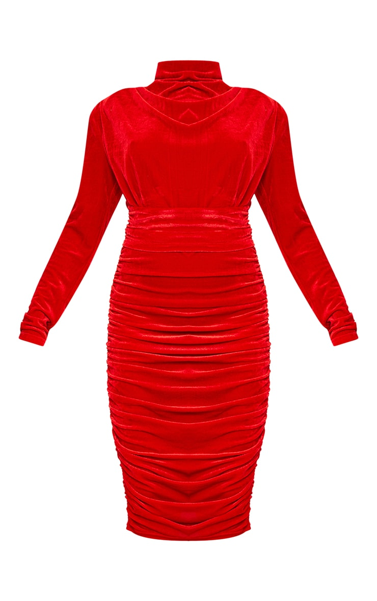 Red Velvet High Neck Draped Detail Midi Dress 5