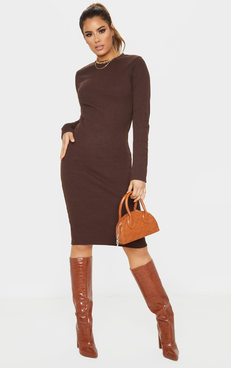 Tall Chocolate Brown Knitted Long Sleeve Midi Dress 1