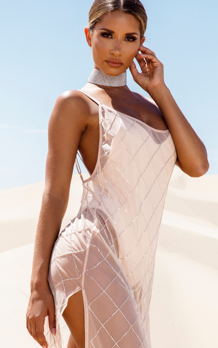 Nude Beaded Grid Beach Dress 5
