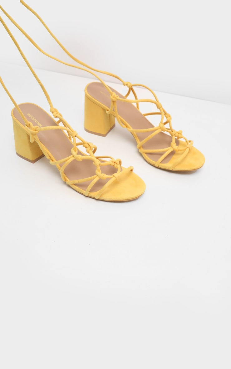 Yellow Block Heel Leg Tie Sandal 3