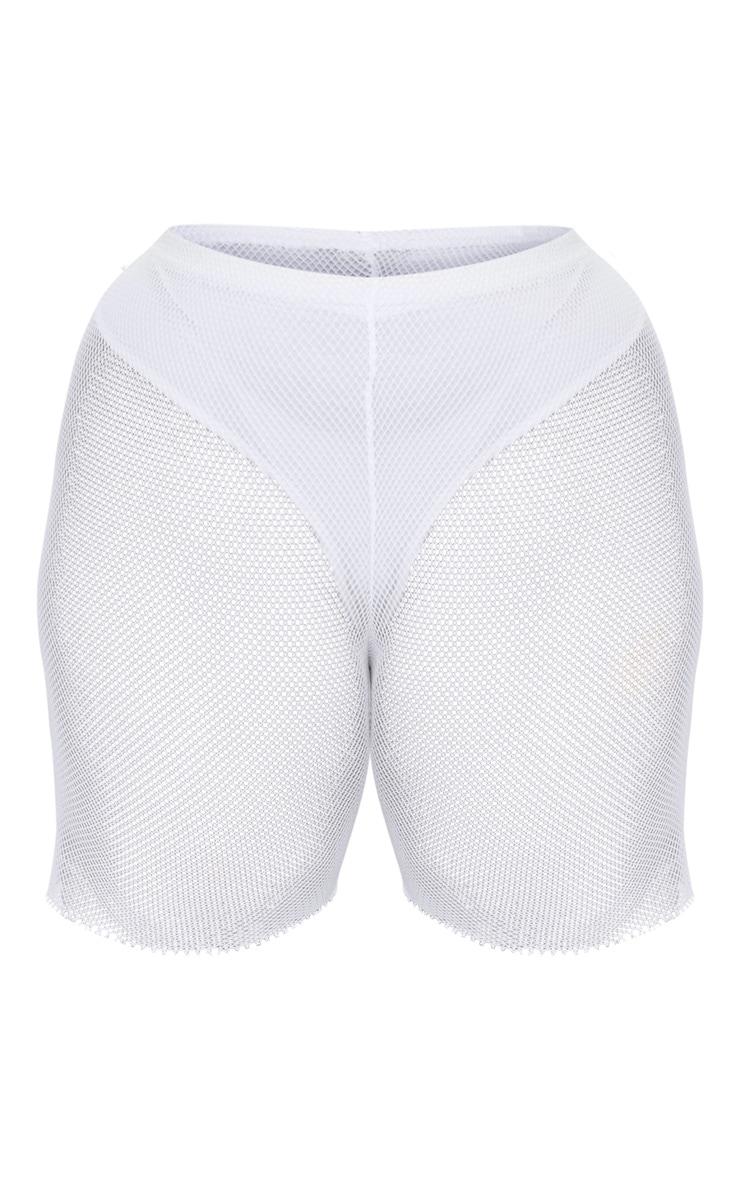 Plus White Fishnet Cycling Shorts 3