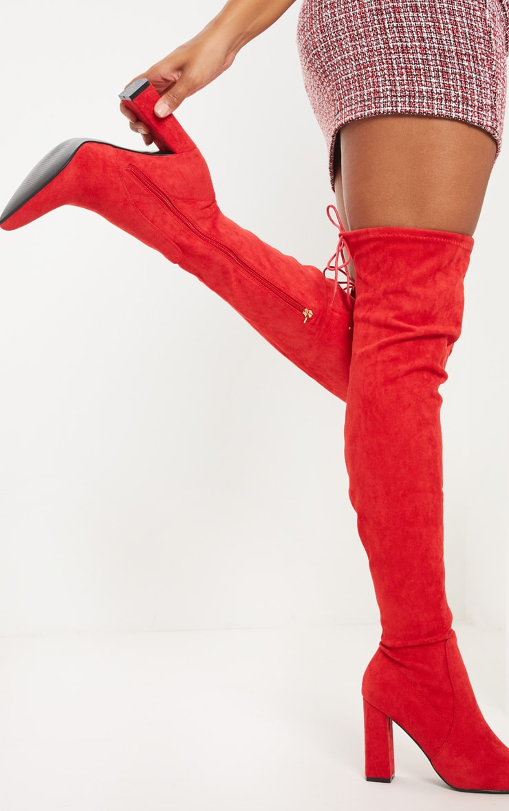 Red Faux Suede Block High Heel Boot 2