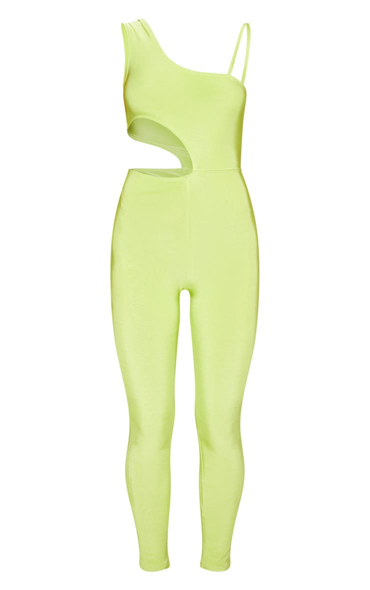 Neon Lime Slinky Waist Cut Out Detail Jumpsuit 3