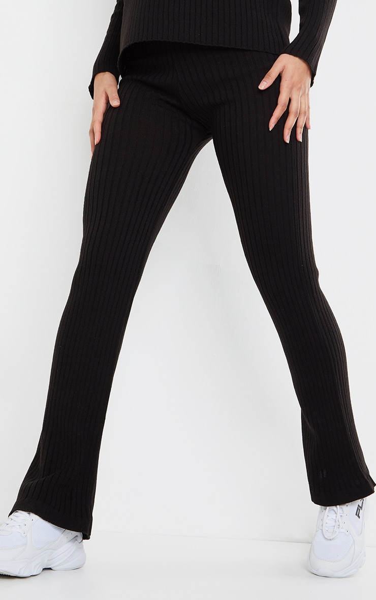 Black Ribbed Knitted Flare High Waisted Trouser 4