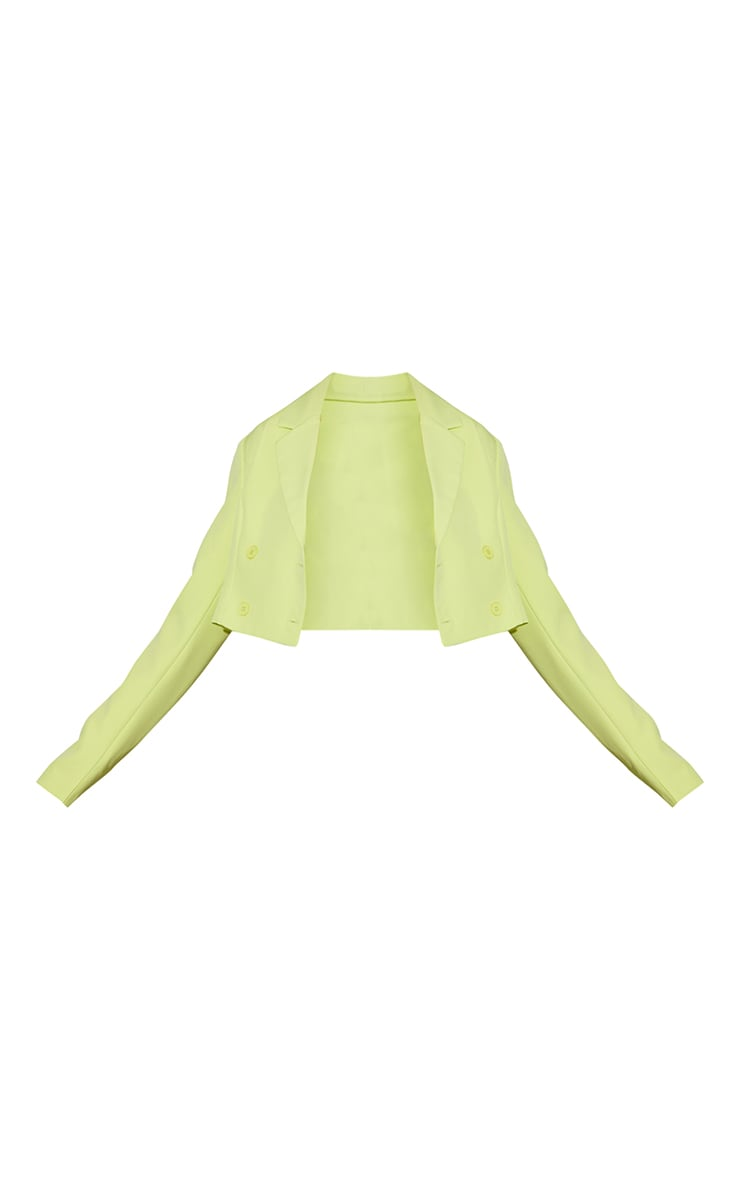Lime Double Breasted Cropped Blazer 5