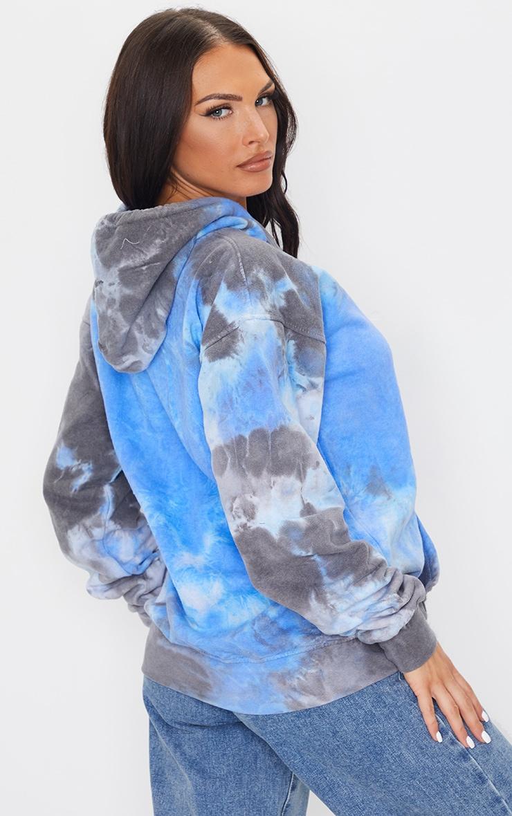 Blue Acid Washed Oversized Hoodie 2