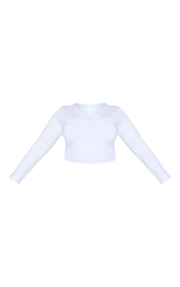 Plus White Basic Longline Long Sleeve Top 5