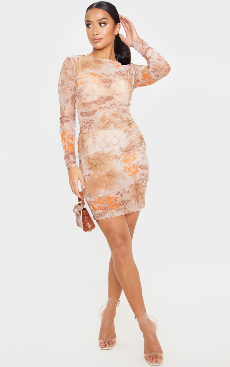 Petite Nude Long Sleeve Oriental Mesh Bodycon Dress  1