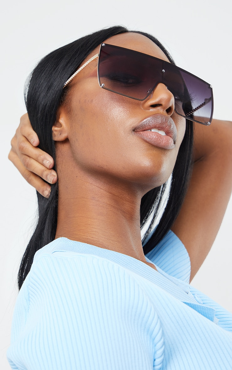Black Ombre Oversized Square Frame Sunglasses 1