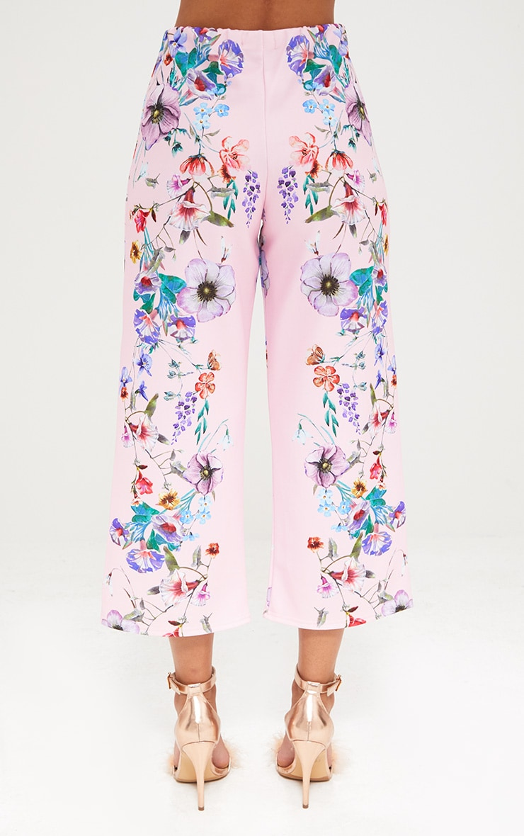 Light Pink Floral Placement Print Culottes 4