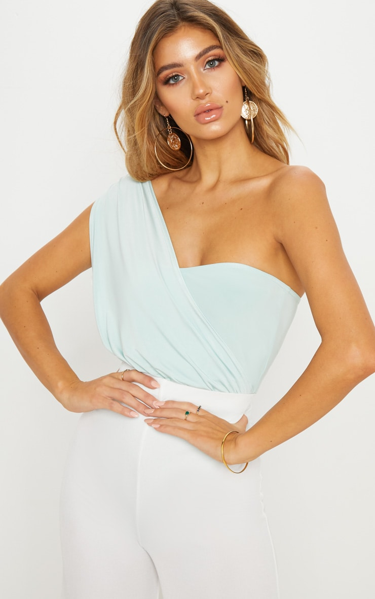 Mint Slinky One Shoulder Bodysuit